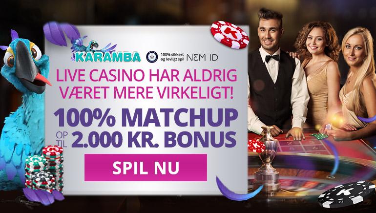 Udforsk live-casinoborde med special Karamba Casino bonus